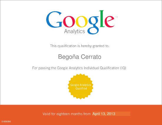 GoogleIQ . Certificación Google Analytics.