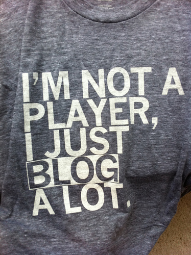 Camiseta con la frase: I am not a player, a just blob a lot.